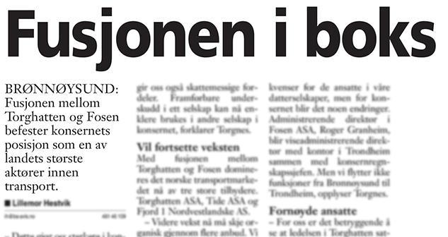 Faksimile fra Brønnøysunds Avis 18.desember 2009